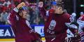 Сборная Латвии празднует успех